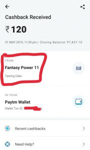 Fantasy Power 11 Payment Proof